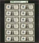 Uncut Sheet of (12) Fr. 1604. 1928D $1 Silver Certificate. PMG About Uncirculated 55 EPQ.