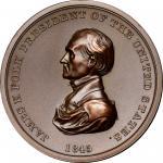 1845 James K. Polk Indian Peace Medal. Copper, Bronzed. Second Size. Second Reverse. Julian IP-25, P