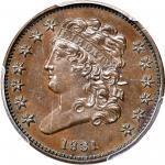 1831 Classic Head Half Cent. Original. C-1. Rarity-7 as a Proof. Proof-61 BN (PCGS). CAC.