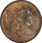 1794 Liberty Cap Cent. Sheldon-71. Head of 1795. Rarity-2. Mint State-65 RB (PCGS).