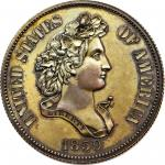 1859 Pattern Half Dollar. Judd-238, Pollock-294. Rarity-5. Copper. Reeded Edge. Proof-62 BN (PCGS).