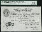 Bank of England, E.M. Harvey, £5, Plymouth 5 December 1919, serial number 95U 61769 black and white,