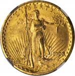 1908 Saint-Gaudens Double Eagle. No Motto. MS-63 (NGC).