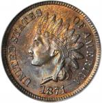1871 Indian Cent. Bold N. MS-64 RB (PCGS).