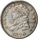 1820 Capped Bust Dime. JR-2. Rarity-3. Small 0. Unc Details--Cleaned (PCGS).