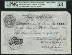 Bank of England, C.P. Mahon, specimen £5, London 9 April 1925, serial number 001/Q 00000, black and