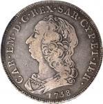 ITALY. Sardinia. Scudo, 1758. Carlo Emanuele III (1730-73). PCGS VF-20 Secure Holder.