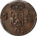 1809年荷兰东印度1/2 Duit 。NETHERLANDS EAST INDIES. 1/2 Duit, 1809. PCGS AU-53 Gold Shield.