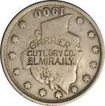 CARRIER / CUTLERY CO. / ELMIRA N.Y. on a 1900 Liberty Head Nickel. Brunk C-220. Host Coin Fine.
