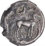 SICILY. Syracuse. Second Democracy, 466-406 B.C. AR Tetradrachm (16.27 gms), ca. 460-440 B.C. NGC EF