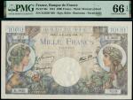 Banque de France, Commerce et Industrie, 1000 francs, 6 July 1944, serial numbers H.3620 820, blue a