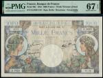 Banque de France, Commerce et Industrie, 1000 francs, 6 July 1944, serial numbers H.3620 818, blue a
