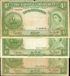 BAHAMAS. Bahamas Government. 4 Shillings, ND. P-13a and 13b. Very Fine.