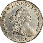 1806 Draped Bust Half Dollar. O-111a, T-11. Rarity-4. 6/Inverted 6. AU-55+ (NGC).
