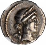 JULIUS CAESAR. AR Denarius (3.89 gms), Spanish Mint, ca. 46-45 B.C. NGC EF, Strike: 4/5 Surface: 4/5