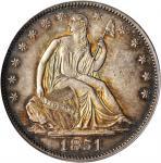 1851 Liberty Seated Half Dollar. WB-6. Rarity-4. AU-58 (PCGS).