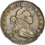 1805/4 Draped Bust Half Dollar. O-101, T-4. Rarity-3. AU Details--Cleaned (NGC).