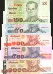 2007年泰国政府20, 50, 100, 500, and 1000 铢。样票。ปี2007(BE 2550) รัฐบาลไทย ชุดแบงค์ตัวอย่าง  20,50,100,500,1
