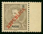 Macao  Stamp  1911 Macau Lisbon Overprinted 8a grey brown with