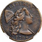 1794 Liberty Cap Cent. S-37. Rarity-6+. Head of 1794. VF-20 BN (NGC).