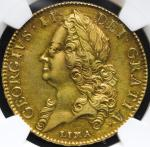 """GREAT BRITAIN George II ジョージ2世(1727~60) 5Guineas 1746""""LIMA"""" NGC-AU55 EF"""