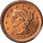 1857 Braided Hair Cent. N-4. Rarity-1. Small Date. MS-64 RD (PCGS). CAC.