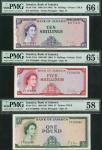 Bank of Jamaica, 5 and 10 shillings, and £1, ND (1964), prefixes FT, HJ and FT, red, purple and gree