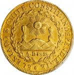 CHILE. 8 Escudos, 1827-So I. Santiago Mint. Republic. PCGS Genuine--Tooled, AU Details Gold Shield.