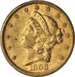 1868-S Liberty Head Double Eagle. AU Details--Graffiti (PCGS).