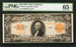 Fr. 1187. 1922 $20 Gold Certificate. PMG Gem Uncirculated 65 EPQ.
