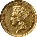 1868 Three-Dollar Gold Piece. AU-55 (NGC).