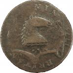 1787 New Jersey copper. Maris 72-z. Rarity-5. Plaited Mane. Overstruck on 1775 Machin's Mills halfpe