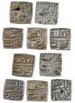 Mughal Empire, Akbar (1556-1605), square Ilahi Rupees, Tatta (5), month Azar, yr.38, Azar, yr.39, Ba