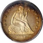 1864 Liberty Seated Quarter. Proof-65 Cameo (PCGS).