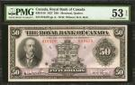 CANADA. Royal Bank of Canada. 50 Dollars, 1927. CH #6301416. PMG About Uncirculated 53 EPQ.