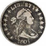 1805/4 Draped Bust Half Dollar. O-102, T-5. Rarity-3. Fine-15 (PCGS).
