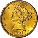 1901/0-S Liberty Head Half Eagle. FS-301. MS-64 (PCGS).