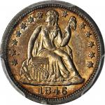 1846 Liberty Seated Dime. Fortin-101. Rarity-4. AU Details--Cleaned (PCGS).