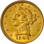 1844-O Liberty Head Half Eagle. Winter-4. MS-63 (PCGS).