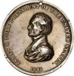 1845 James K. Polk Indian Peace Medal. Silver. First Size. Julian IP-24, Prucha-46. Choice Very Fine