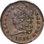 1811 Classic Head Half Cent. C-2. Rarity-3. Close Date. MS-63 BN (PCGS). CAC.