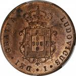 PORTUGAL. 3 Reis, 1874. Lisbon Mint. Luis I. PCGS MS-63 Red Brown Gold Shield.