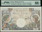 Banque de France, Commerce et Industrie, 1000 francs (5), 6 July 1944, serial numbers H.3620-806, 80