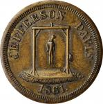 1861 Anti-Confederate Jefferson Davis CSA Satirical Presidential Election Medal. Brass. 25 mm. DeWit
