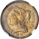 1873 Nickel Three-Cent Piece. Open 3. AU Details--Cleaned (NGC).