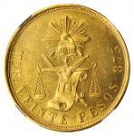 MEXICO. 20 Pesos, 1876-Mo B. Mexico City Mint. NGC MS-63.