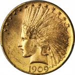 1909-D Indian Eagle. MS-64 (PCGS).
