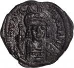 MAURICE TIBERIUS, 582-602. AE Follis (12.64 gms), Constantinople Mint, Year 10 (A.D. 591/2).
