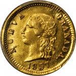 COLOMBIA. 1857 2 Pesos. Popayán mint. Restrepo 204.1. AU-58 (PCGS).