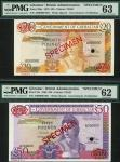 Government of Gibraltar, specimen 20, 15 September 1979, serial number A000000, bistre; specimen 50,